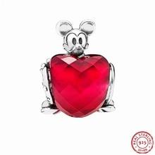 Fabulous Fuchsia Desney Mikey Mice Love Heart Beads for Women Jewelry Making DIY Fit PANDORA Charms Silver 925 Original FL740