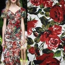 Rose Flower Printed Cotton Fabric Fashion Spandex Satin Fabrics Cheap Tissu au Metre Reactive Dyes Tecido Costura Clothes Telas