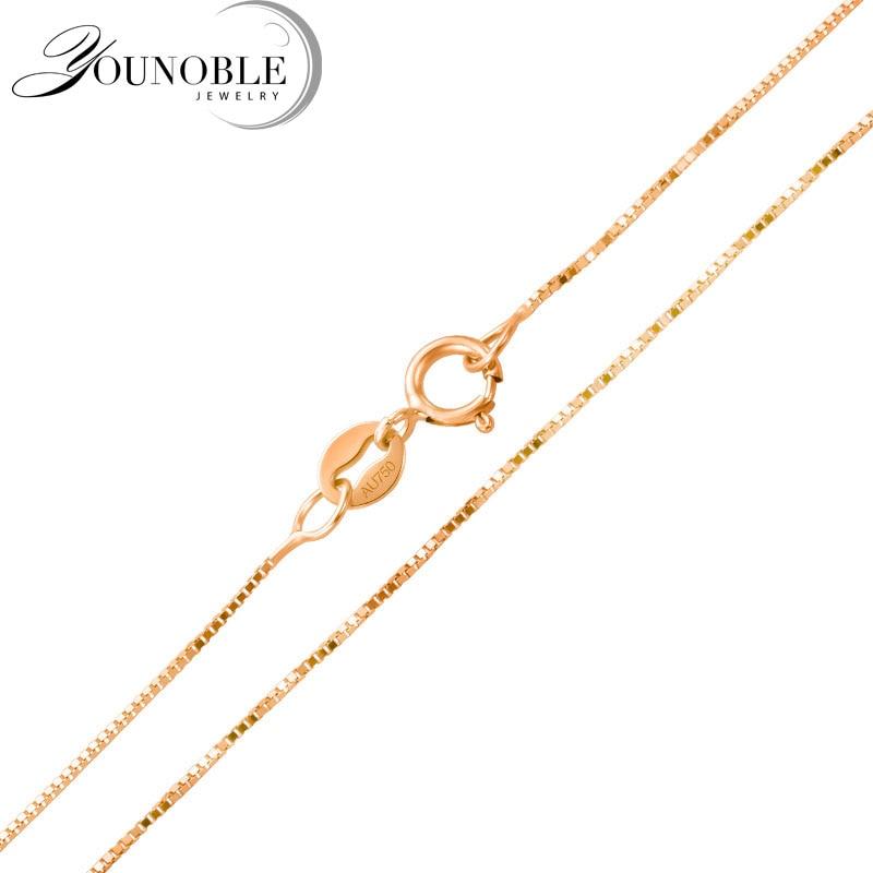 Real 18 k ouro colar corrente 18 polegadas, casamento au750 rosa ouro colar wending festa presente feminino