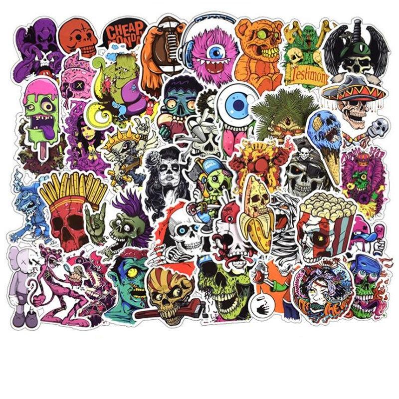 50 unids/pack Horror divertido cráneo Graffiti estilo de moda pegatinas coches para motocicletas portátiles patineta pegatinas