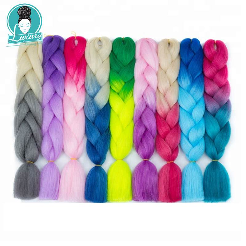 Luxury 60cm 24inch Pink Red Blue Coarse Yaki Texture Ombre Two Tone Three Tone Synthetic Jumbo Braids
