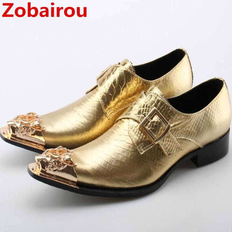 Zobairou-حذاء رجالي من الجلد اللامع ، حذاء رسمي ، أنيق ، للعمل ، لون ذهبي ، 2017