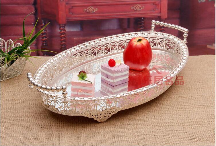 50x30 см овальный поднос для десертов с вырезами для дома металлическая корзина для фруктов Серебряное украшение поднос для сервировки FT031