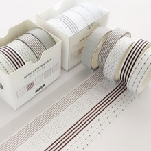 5 stks/pak Dot lijn Washi Tape Set Decoratie Sticker Scrapbooking Dagboek Zelfklevende Masking Tape briefpapier schoolbenodigdheden