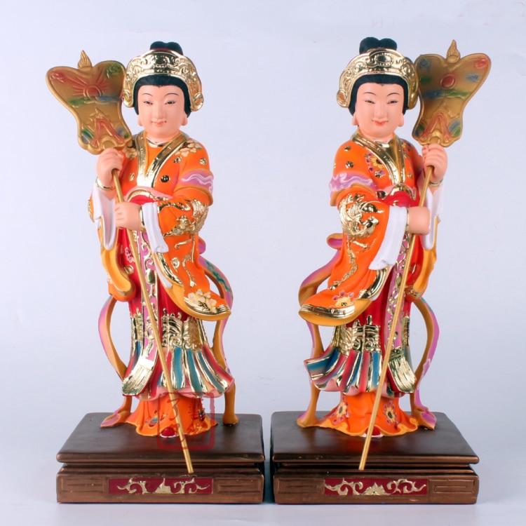 Estatua escultura de 30CM de alto-un par-eficacia para el hogar de alto grado talismán mascota diosa maidens para Guanyin Mazu color
