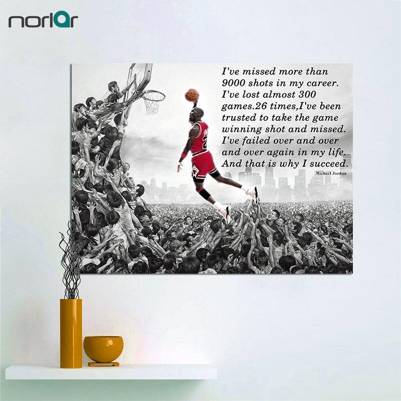 Cuadros de lienzo sin marco HD impreso tener éxito cita inspiradora y motivadora Michael Jordan Dunks póster de arte de pared