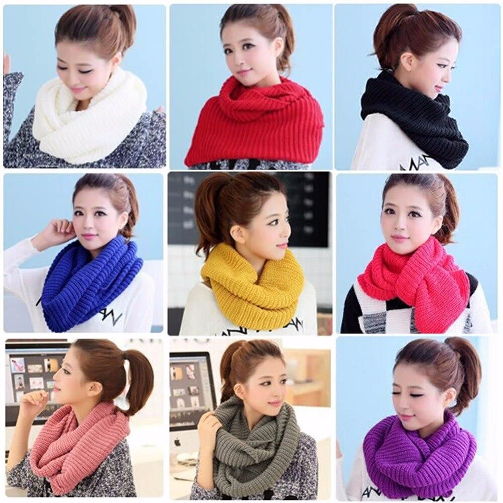 Bufanda chal largo de invierno cálido para mujer con 2 círculos y cuello redondo
