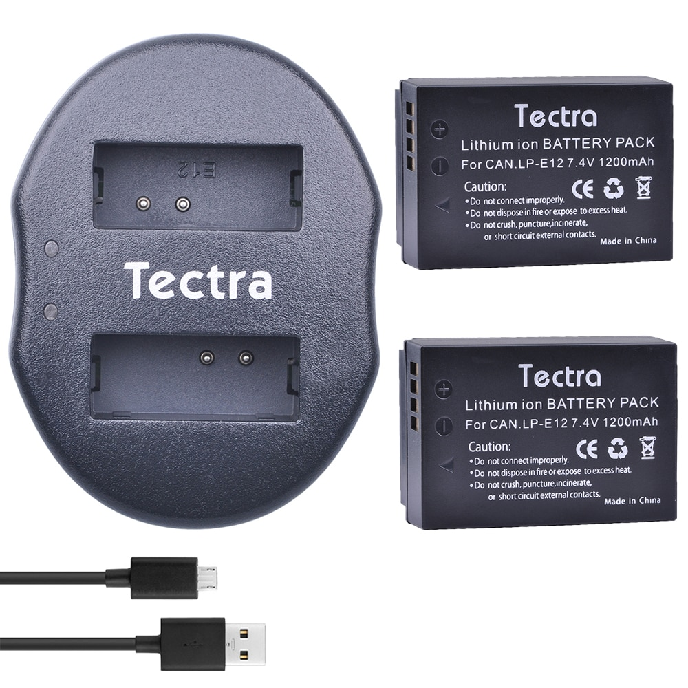 Tectra 2 piezas LP-E12 LP E12 LPE12 la cámara Li-Ion batería +...