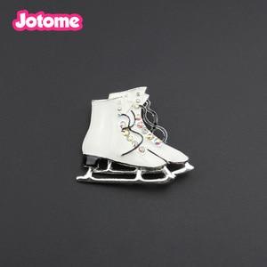 10pcs/lot Fashion Enamel White Ice Skate Brooch Pin /Pendant Charm Sport  Jewelry
