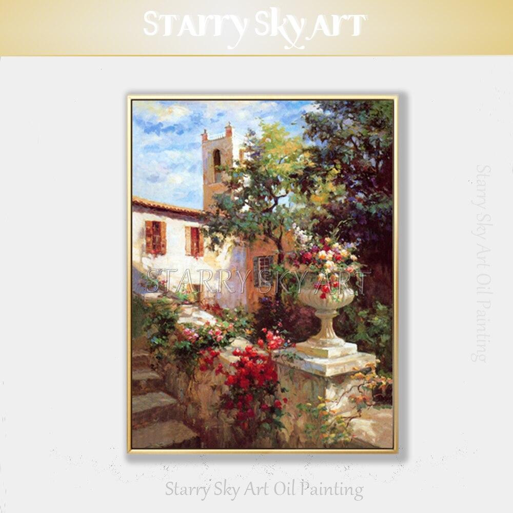 Pintada à Mão-de Pintura a Óleo Pintura a Óleo da Paisagem Artista Profissional Pura Alta Qualidade da Paisagem Impressionista Europa Belo Pátio