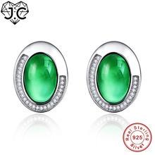J.C For Female Oval Cut Amethyst & Emerald  Topaz Delicate Earrings Real Solid 925 Sterling Silver Earrings Fine Jewelry Gift
