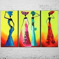 hand painted abstract dancer oil painting no framed handmade colorful beautiful women paintings on canvas 3pcsset wall pictures