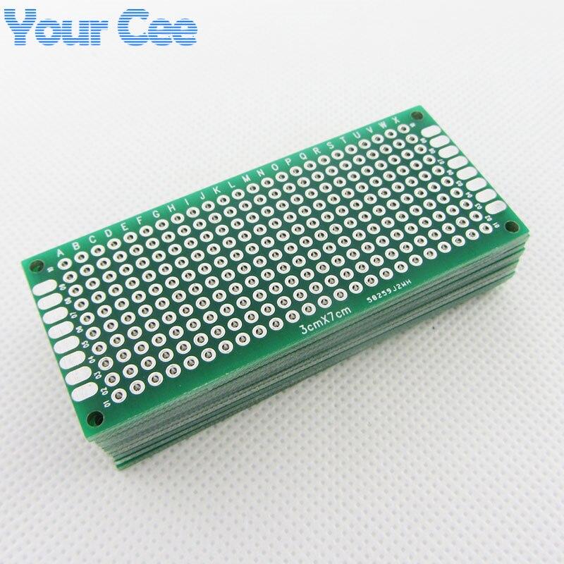 10 Uds 3X7cm 3*7cm doble lado prototipo pcb tablero universal para Arduino 1.6mm2.54mm práctica DIY Kit electrónico estañado
