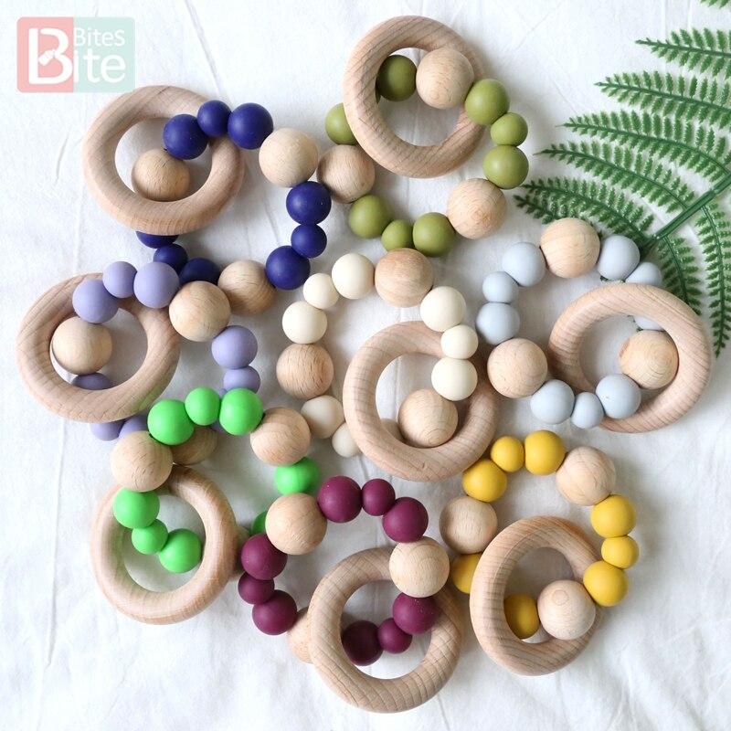 Mordedura, 1 unidad, pulsera de silicona para dentición de bebé, cuentas de silicona redondas, de madera Natural sonajero, anillo de silicona de grado alimenticio, mordedor para bebé