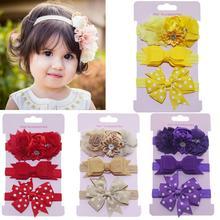 Fashion 3pcs/lot Kids Elastic Floral Headband Girls Baby Bowknot Hairband Set Child Hair Accessories Photo Shoot Cute Gift