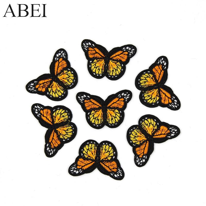 10 teile/los Jeans Nähen Patches Eisen Auf Orange Schmetterling Aufkleber Handarbeit Patchwork Handwerk Diy Logo Kleidung Taschen Motiv Abzeichen