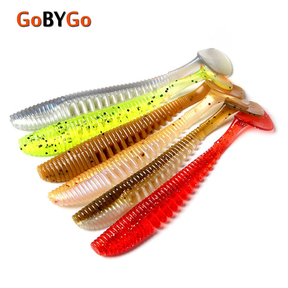 Gobygo 5 Stks/partij 10Cm Zachte Vissen Lokken Staart Larven 5G Kunstmatige Panfish Crappie Vissen Lokt
