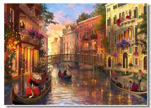 Sunset Scenery Oil Painting River House Cross Stitch Kits Crafts 14CT Unprinted For Embroidered Handmade Art Wall Home Decor