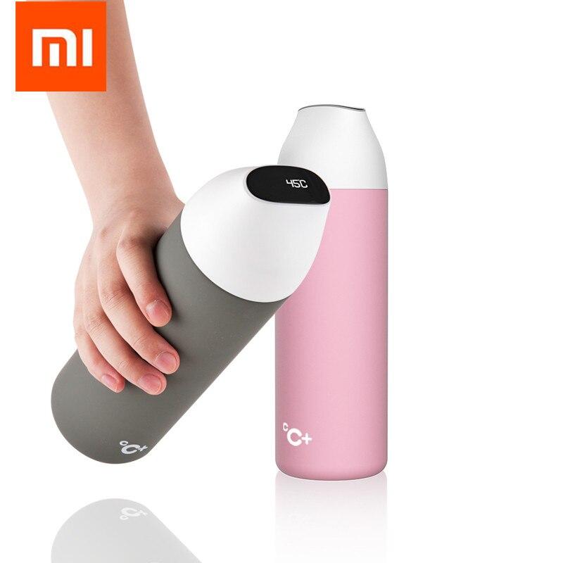 5 colores Xiaomi mijia kiss fish botella de aislamiento al vacío inteligente con 3 filtros pantalla OLED de temperatura Sensor inteligente CC + taza