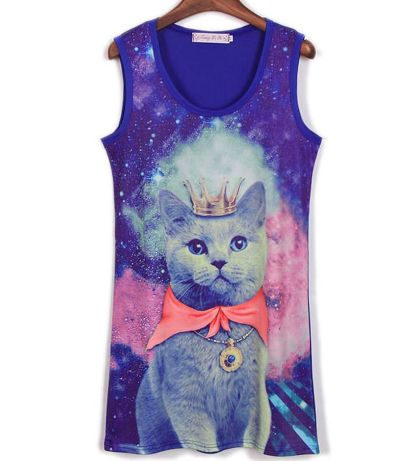 2017 nueva moda Galaxy Prince Crown Cat Tight mujer chalecos Camiseta larga chaleco moda mujer