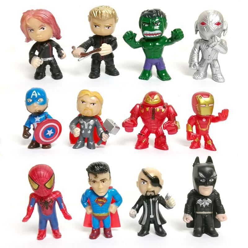12pcs/set New Avengers Toys Mini The Avengers Action Figures Batman Hulk Thor Action Toys Superhero Model Toys Gift for Boys