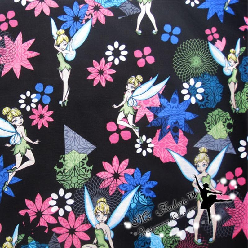 Широкий 140 см, волшебная ткань Tinker Bell Beauty, 100% хлопок, ткань с принтом феи, лоскутное шитье, материал для Diy, женское платье