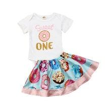 2020 nouveau-né 2 pièces bébé fille vêtements dété nouveau-né barboteuse beignets impression body + volants jupes tenues ensemble