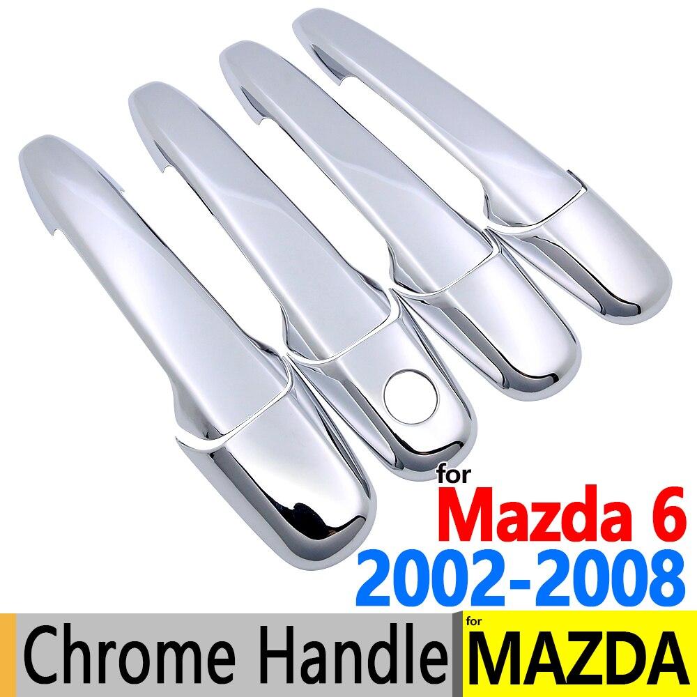 Para Mazda 6 2002-2008 lujosa manija de la puerta cromada cubre el Set de ajuste para Atenza GG 4 puerta sedán carro accesorios Speen estilo de coche