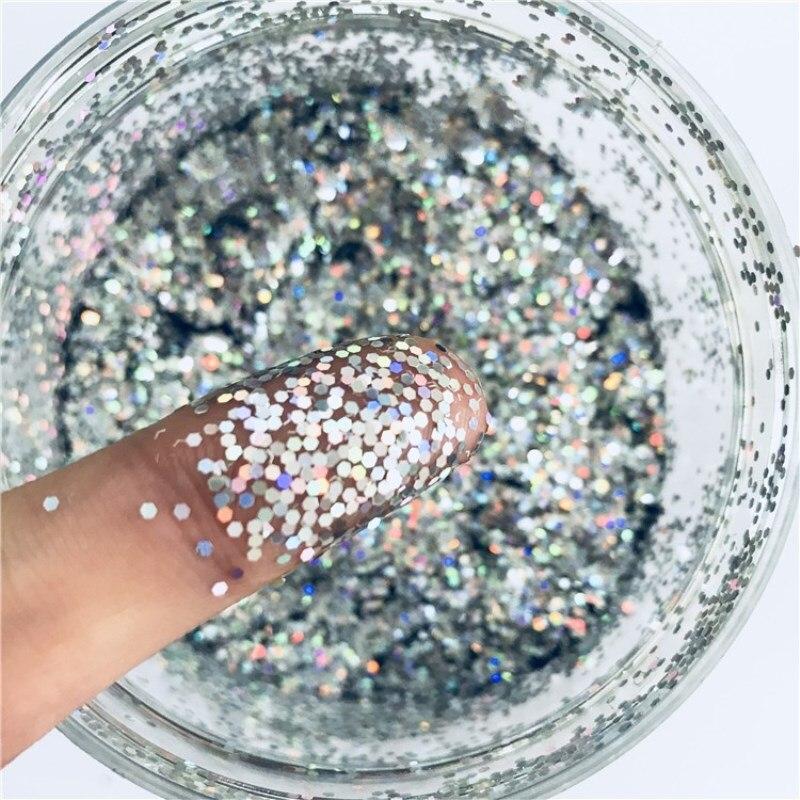Lentejuelas brillo de uñas hexagonal de 1mm Power Pailettes PET ultrafino lentejuelas láser para decoración de uñas arte corporal decoración de uñas DIY 10ml
