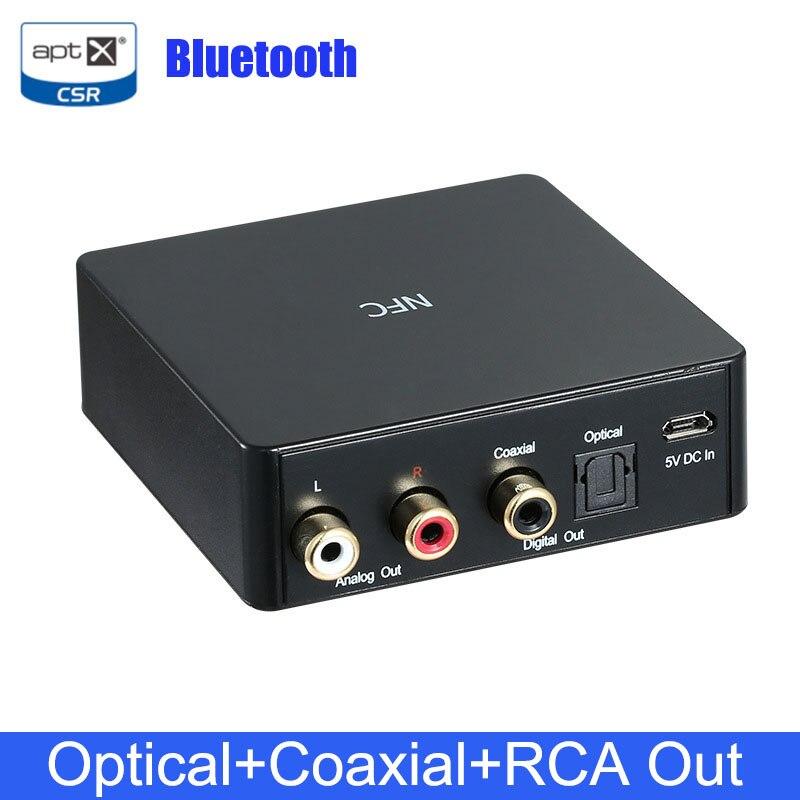 Receptor de Audio NFC Bluetooth 4,0 DAC APTX CSR receptor de música Digital inalámbrico con salida RCA óptico Coaxial/SPDIF