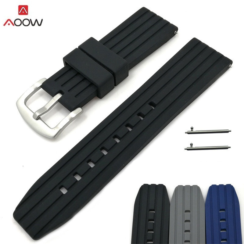 Generic Watchband 20mm 22mm 24mm Quick release Rubber Watch Strap Bands Waterproof Watchband Belt Accessories calfskin leather watchband quick release watch band wrist strap 18mm 20mm 22mm 24mm smart watch strap watches accessories