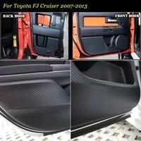teeze 4pcs new interior carbon fiber doors side edge anti kick protection pad sticker for toyota fj cruiser 2007 2013