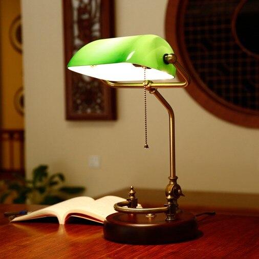 Banqueiros lâmpada de mesa tabela do vintage tampa de vidro sombra luminária verde antiga base de madeira de bétula articulatingl ajustável cord M