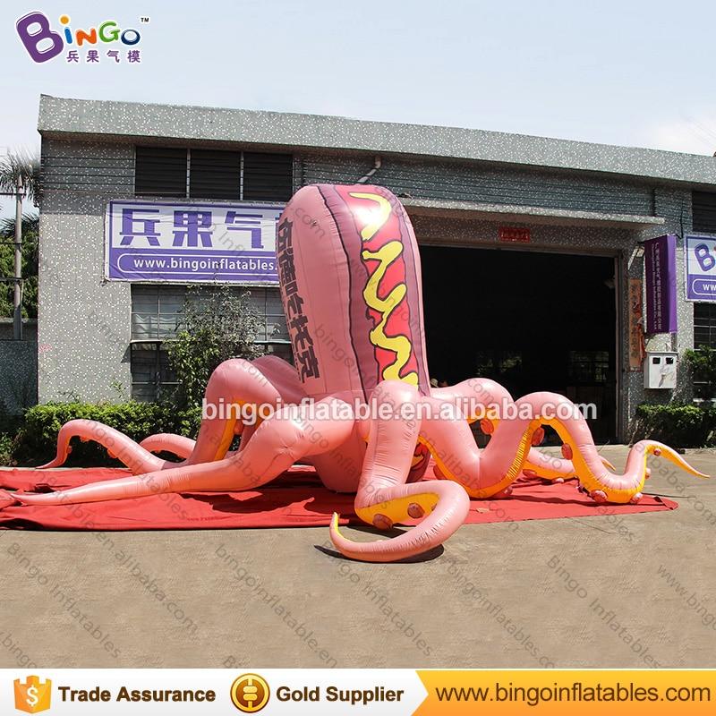 Pulpo inflable gigante de alta calidad de 8 metros, pulpo hinchable personalizado de tipo hot dog, pulpo para exhibición de juguetes inflables