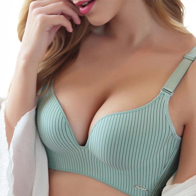 Conjunto de sujetador tentación romántico de marca de gama alta 2019 conjunto de ropa interior a rayas de moda para mujer Push Up sin costura Lade Bra y bragas Set
