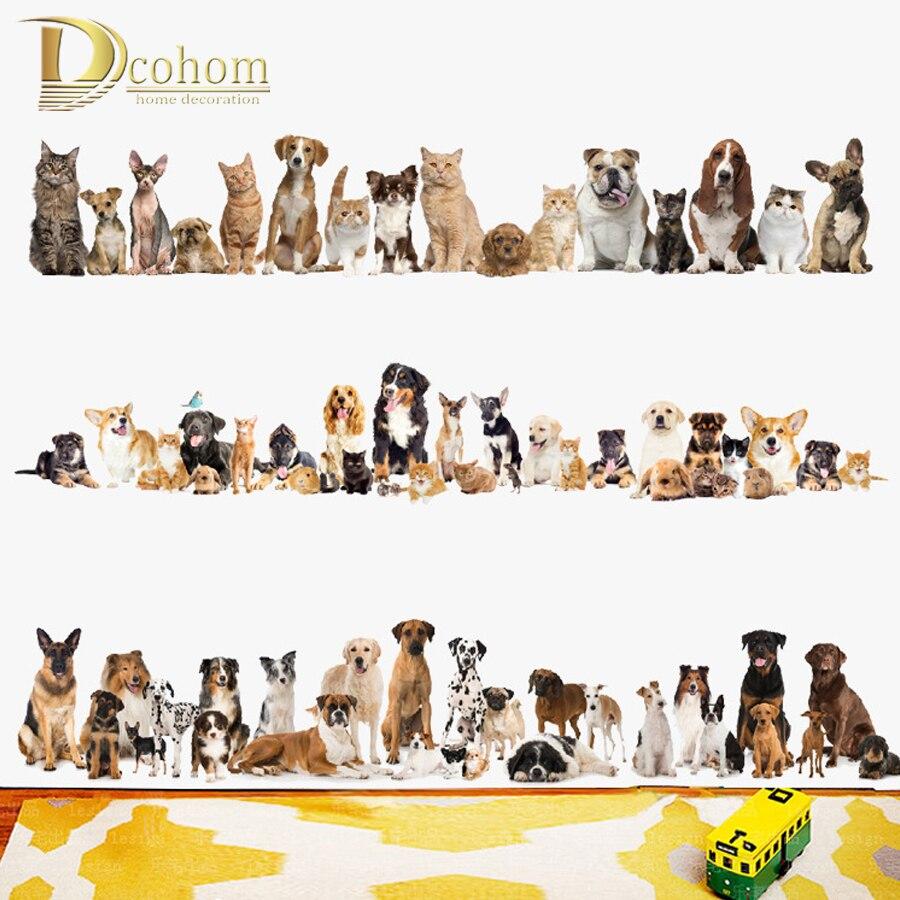 Милый Хаски домашние животные собака 3D стикер на стену магазин домашних животных детская комната украшение Животные наклейки художественн...