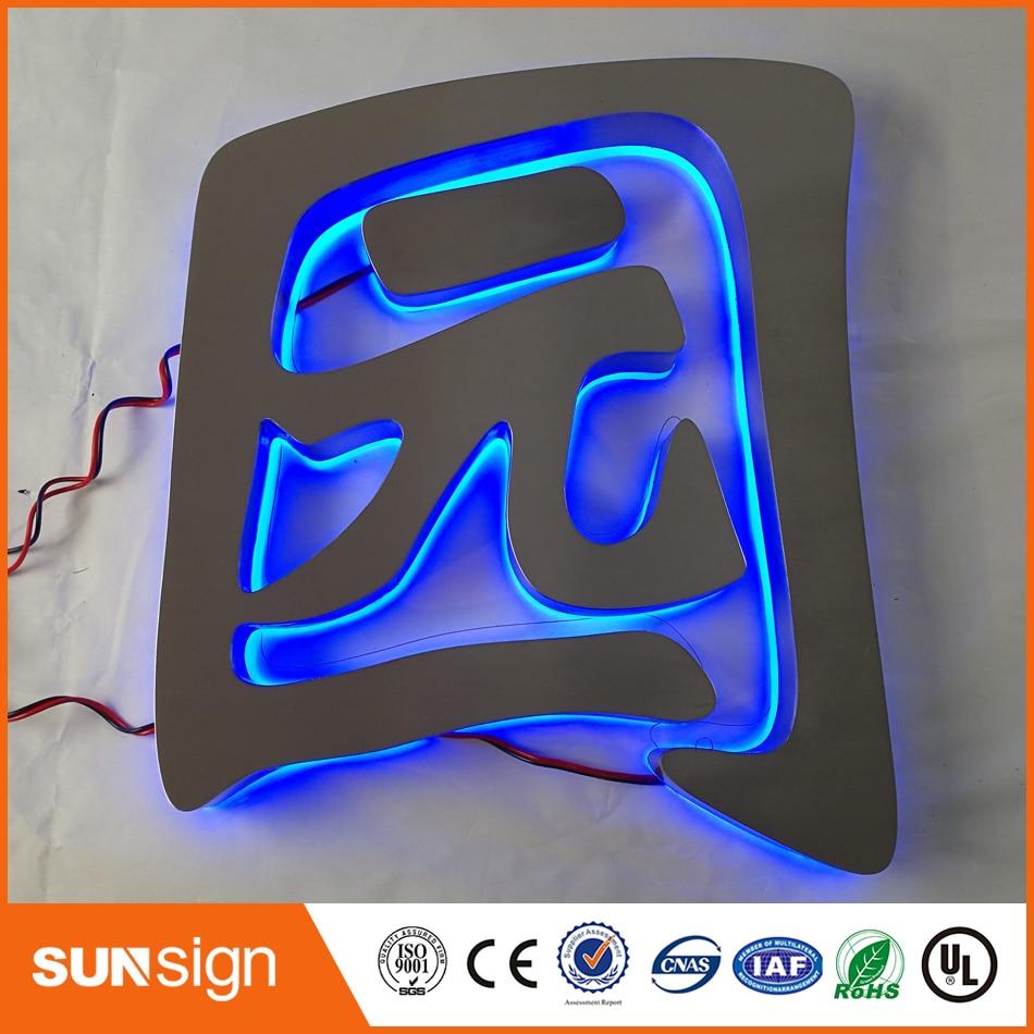 Outdoor large blue led illuminated letter sign недорого