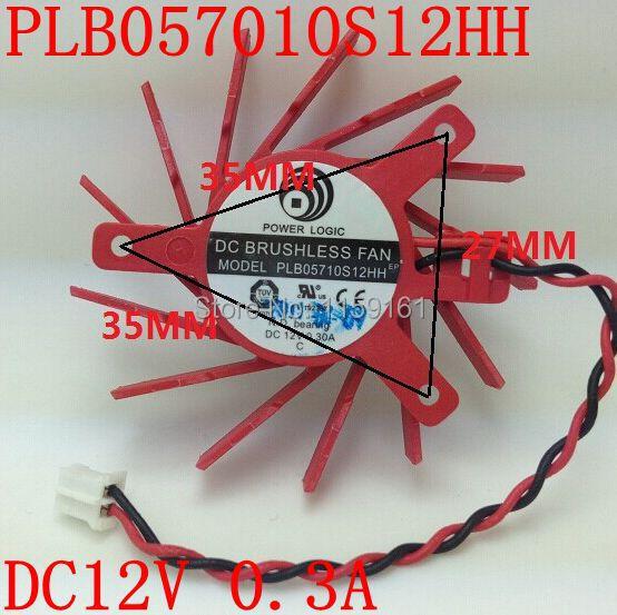 Free Shipping POWER LOGIC  PLB05710S12HH 2PIN DC12V 0.3A 50mm  ATI HD5550 HD5570 HD5670 V4800 Graphics Card Cooling Fan