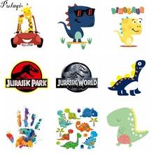 Pulaqi Cartoon Jurassic Park Dinosaurus Patches Warmteoverdracht Stickers Voor T-shirt A-Niveau Wasbare Diy Kleding Accessoires D