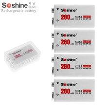 4 шт./компл. Soshine 9V 6LR61 6F22 280mAh ni-mh аккумуляторная батарея + Портативная Батарейная коробка для микрофонов/приборов