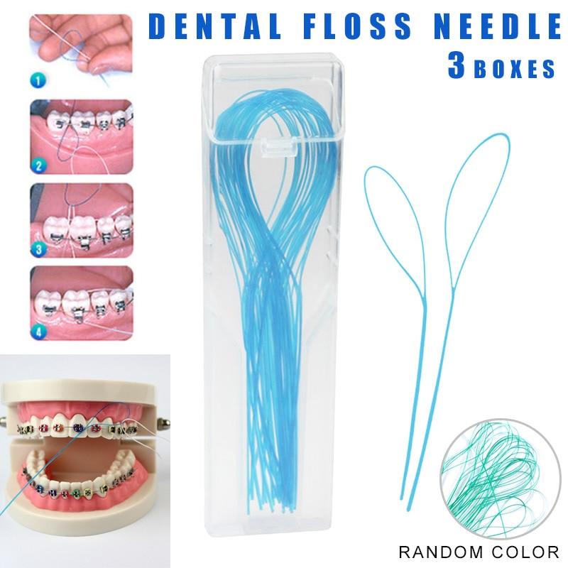 2019 3 Paquetes de enhebradores de hilo dental, soportes de hilo dental entre Puente de aparatos de ortodoncia
