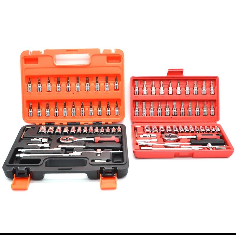 2018 Real Rushed Ferramentas 46 шт 1/4-дюймовый набор втулок для ремонта автомобиля инструмент трещотка комбинация бит ключей хром ванадиевой