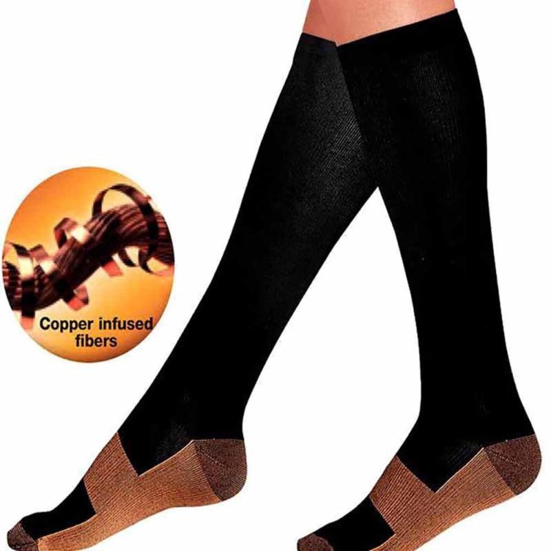 Unisex Anti-fatiga largo tubo compresión calcetines pie Anti fatiga suave alivio del dolor milagro cobre calcetines soporte hasta la rodilla calcetín