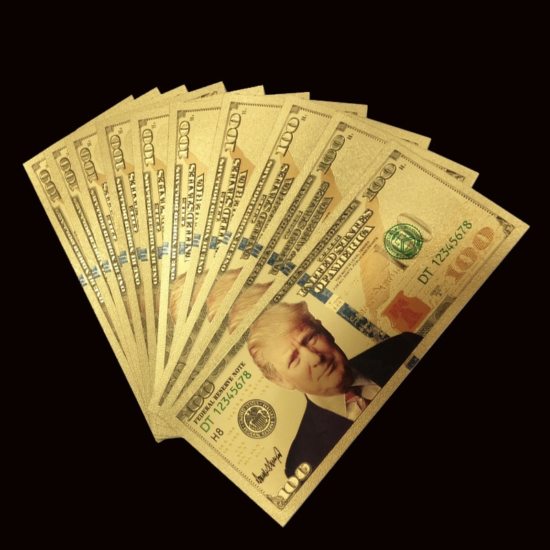 1 шт. Трамп доллар США Золотая банкнота Набор 24k позолоченные 1000 USD банкноты Золотая фольга банкноты памятные дома Декро банкноты