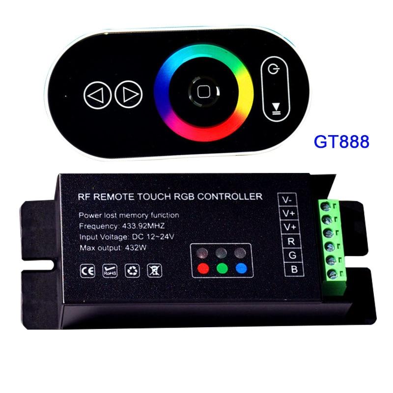 Venta al por mayor 1 Uds DC12-24V 6Ax3channel 18A led dimmer GT888 RF toque remoto RGB led controlador para 5050 RGB led tira de luces