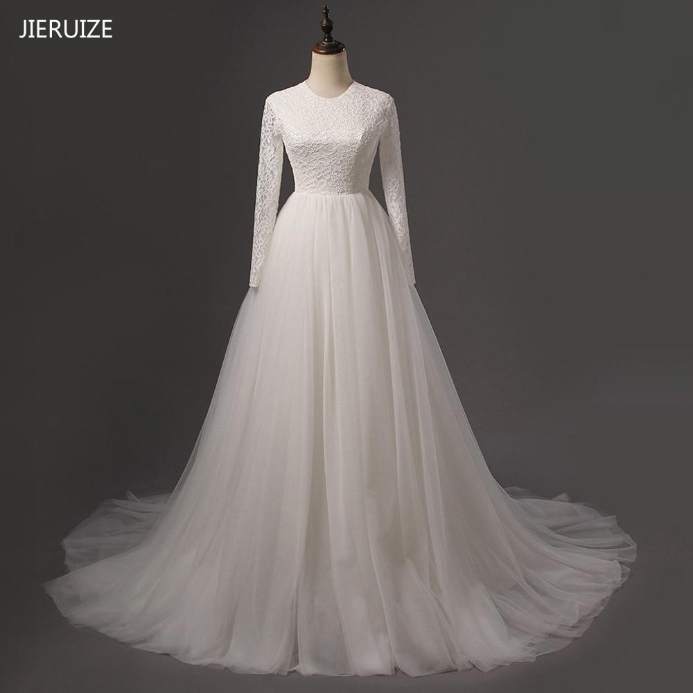 JIERUIZE-فستان زفاف أبيض عتيق من الدانتيل ، أكمام طويلة ، ظهر شفاف ، للعروس