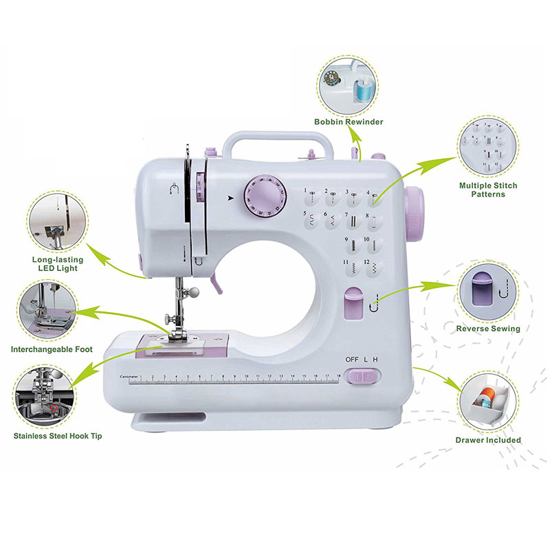 Máquina de coser doméstica multifunción portátil con 12 puntadas integradas, Pedal de rosca doble, máquina de costura