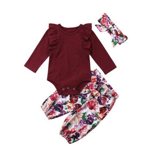 Boutique Kinder bebé Mädchen Blumen Strampler manguera Weihnachts brillante moda conjuntos cómodos