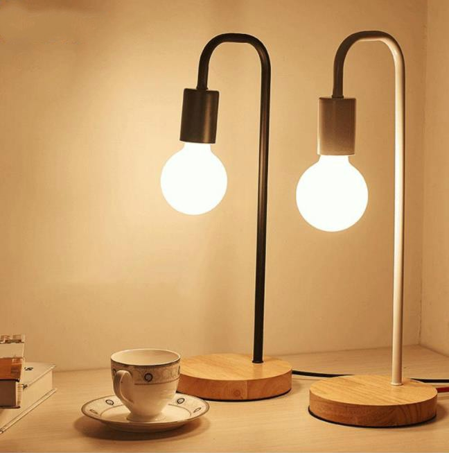 Nordic Modern Wood Desk Lamp Bedroom Bedside Wooden Table Lamps Muliticolor Simple Metal Table Fixtures Room Decor Lighting E27