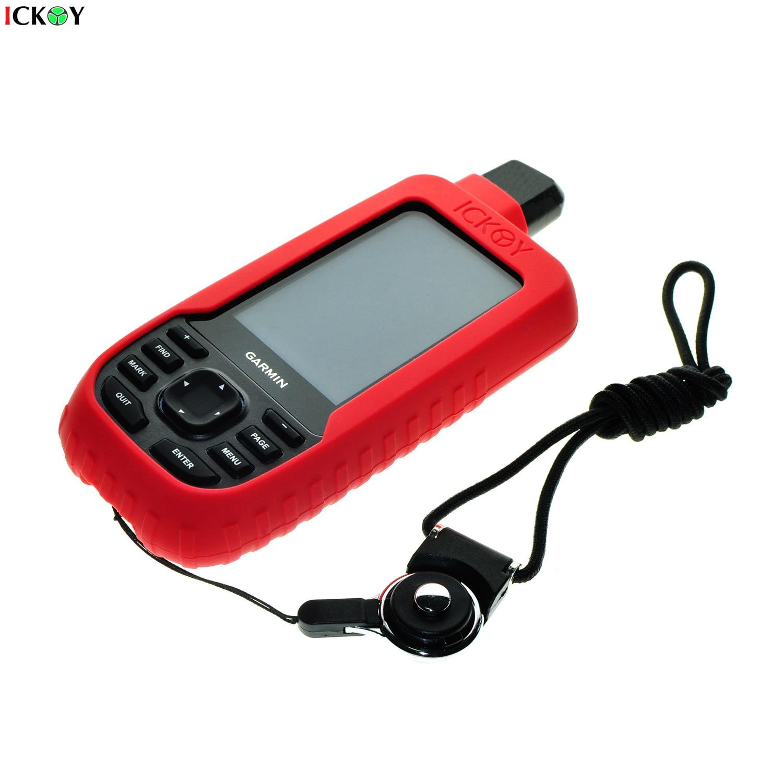 Funda protectora de silicona + cordón de correa de cuello de anillo desmontable negro para GPS GPSMAP Garmin 66 66S 66ST Accesorios